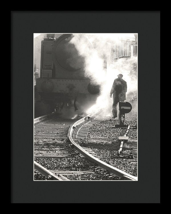 Man With Steam Locomotive - Framed Print from Wallasso - The Wall Art Superstore