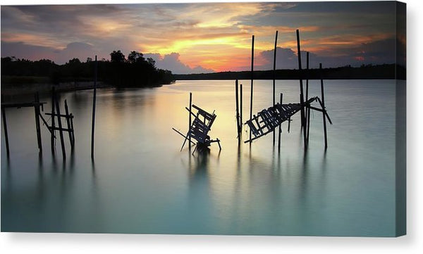 Mangled Remains of An Old Boardwalk, Panoramic - Canvas Print from Wallasso - The Wall Art Superstore