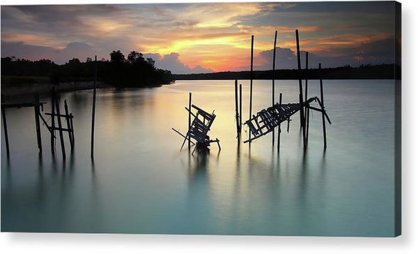 Mangled Remains of An Old Boardwalk, Panoramic - Acrylic Print from Wallasso - The Wall Art Superstore