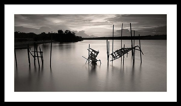 Mangled Remains of An Old Boardwalk, Black and White - Framed Print from Wallasso - The Wall Art Superstore