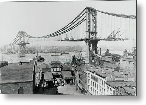 Manhattan Bridge Construction 1909, New York City - Metal Print from Wallasso - The Wall Art Superstore