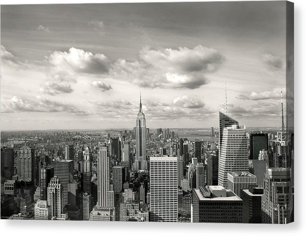 Manhattan Skyscrapers With Clouds, New York City - Canvas Print from Wallasso - The Wall Art Superstore
