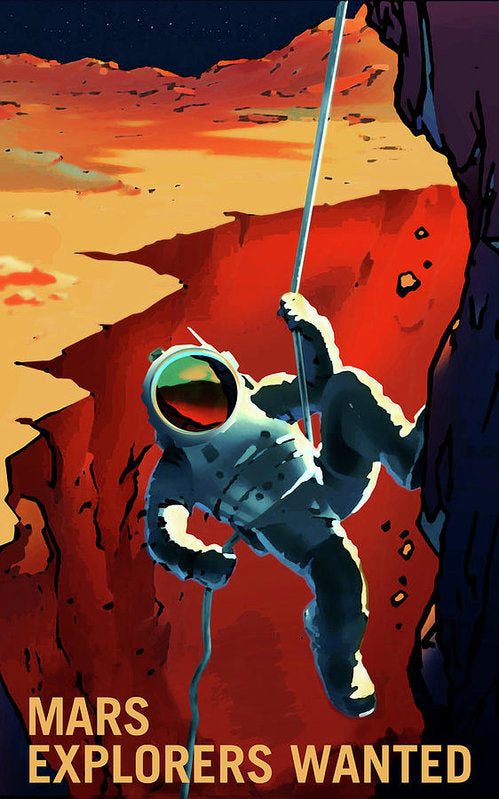Mars Explorers Wanted NASA Poster - Art Print from Wallasso - The Wall Art Superstore
