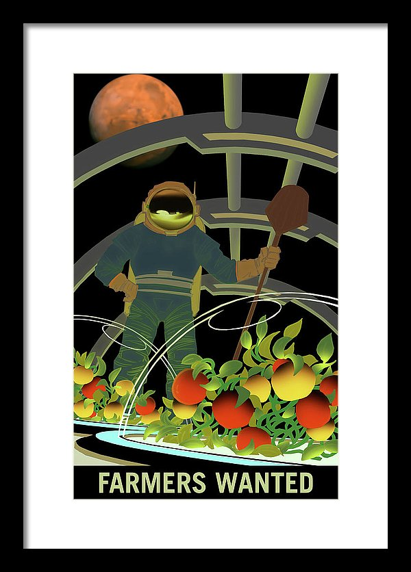 Mars Farmers Wanted NASA Poster - Framed Print from Wallasso - The Wall Art Superstore