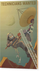 Mars Technicians Wanted NASA Poster - Wood Print from Wallasso - The Wall Art Superstore