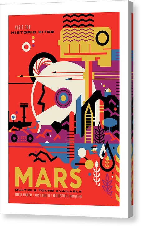 Mars Visions of The Future Vintage Travel Poster - Canvas Print from Wallasso - The Wall Art Superstore