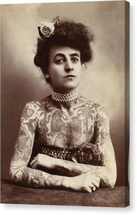 Maud Wagner First Female Tattoo Artist, 1907 - Canvas Print from Wallasso - The Wall Art Superstore
