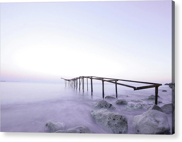 Metal Skeleton of Old Pier With Shades of Purple - Acrylic Print from Wallasso - The Wall Art Superstore