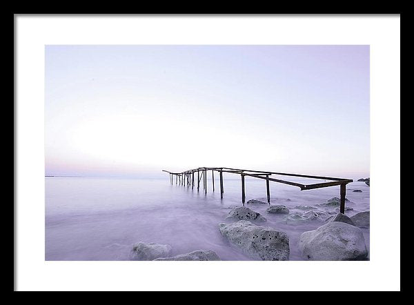 Metal Skeleton of Old Pier With Shades of Purple - Framed Print from Wallasso - The Wall Art Superstore