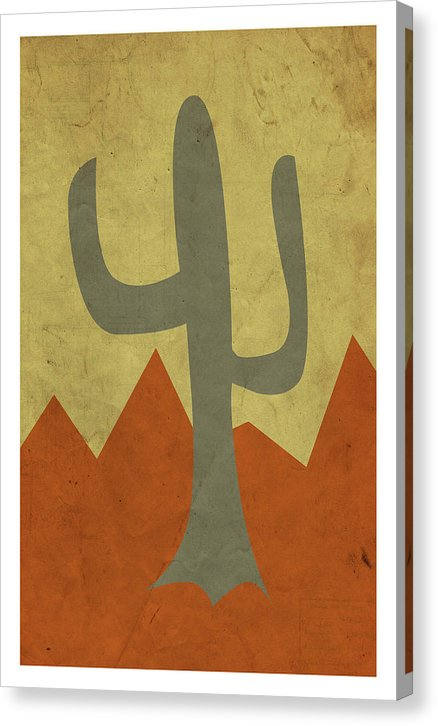 Minimalist Retro Saguaro Cactus Design, 1 of 4 Set - Canvas Print from Wallasso - The Wall Art Superstore