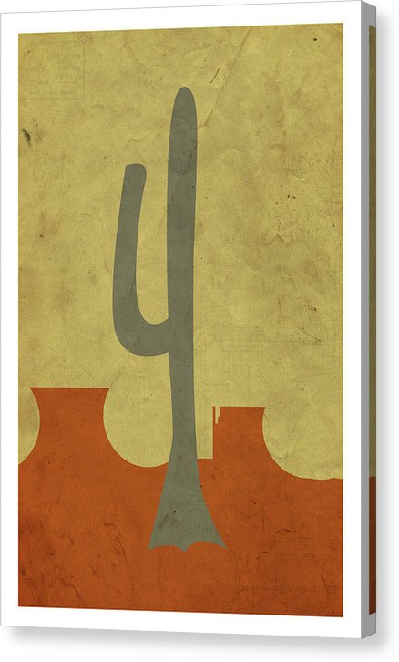 Minimalist Retro Saguaro Cactus Design, 2 of 4 Set - Canvas Print from Wallasso - The Wall Art Superstore