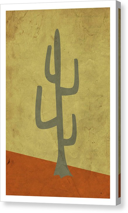 Minimalist Retro Saguaro Cactus Design, 3 of 4 Set - Canvas Print from Wallasso - The Wall Art Superstore