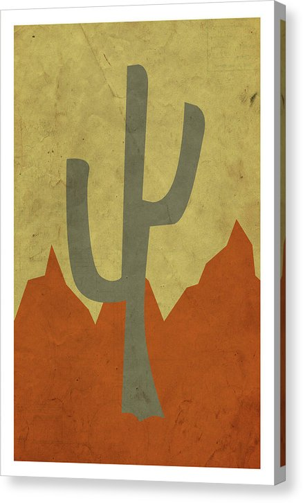 Minimalist Retro Saguaro Cactus Design, 4 of 4 Set - Canvas Print from Wallasso - The Wall Art Superstore