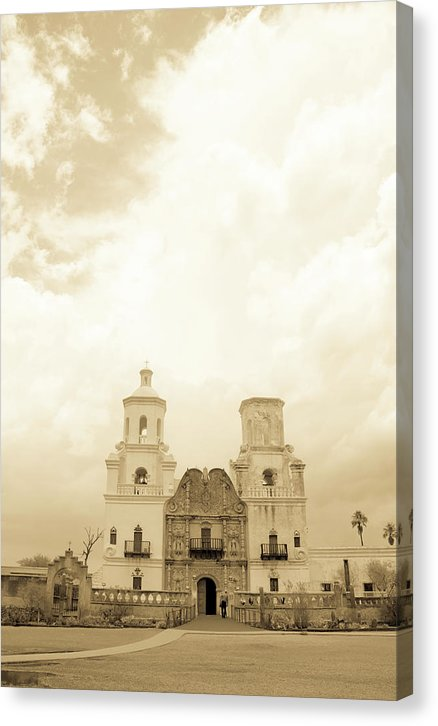 Mission San Xavier Del Bac Catholic Church In Tucson, Arizona, Yellow - Canvas Print from Wallasso - The Wall Art Superstore