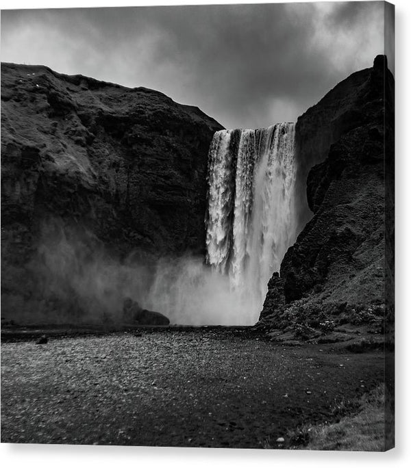 Misty Icelandic Waterfall, Square - Canvas Print from Wallasso - The Wall Art Superstore