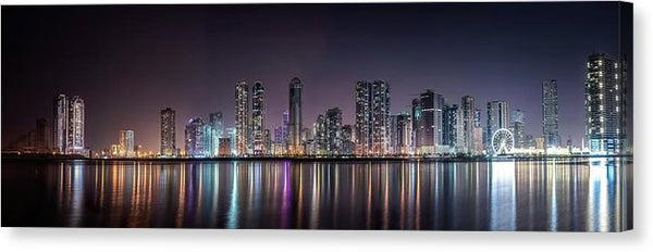 Modern City Skyline At Night, Panoramic - Canvas Print from Wallasso - The Wall Art Superstore