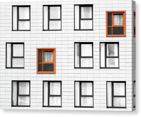 Modern Wall With Orange Windows - Canvas Print from Wallasso - The Wall Art Superstore