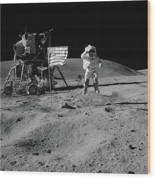 Moon Landing Astronaut With American Flag and Module, Black and White - Wood Print from Wallasso - The Wall Art Superstore