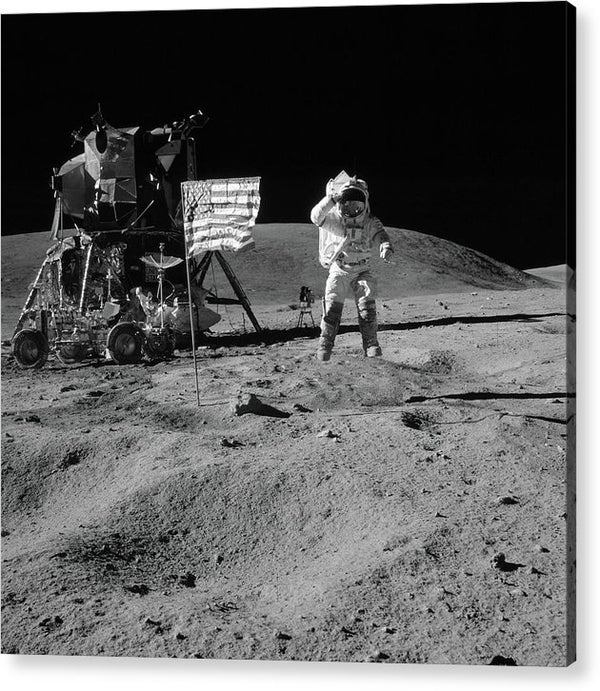 Moon Landing Astronaut With American Flag and Module, Black and White - Acrylic Print from Wallasso - The Wall Art Superstore