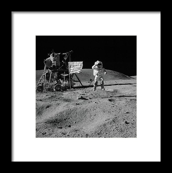 Moon Landing Astronaut With American Flag and Module, Black and White - Framed Print from Wallasso - The Wall Art Superstore