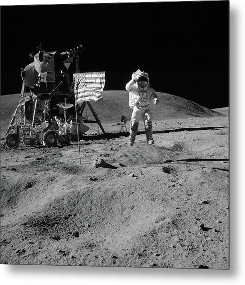 Moon Landing Astronaut With American Flag and Module, Black and White - Metal Print from Wallasso - The Wall Art Superstore