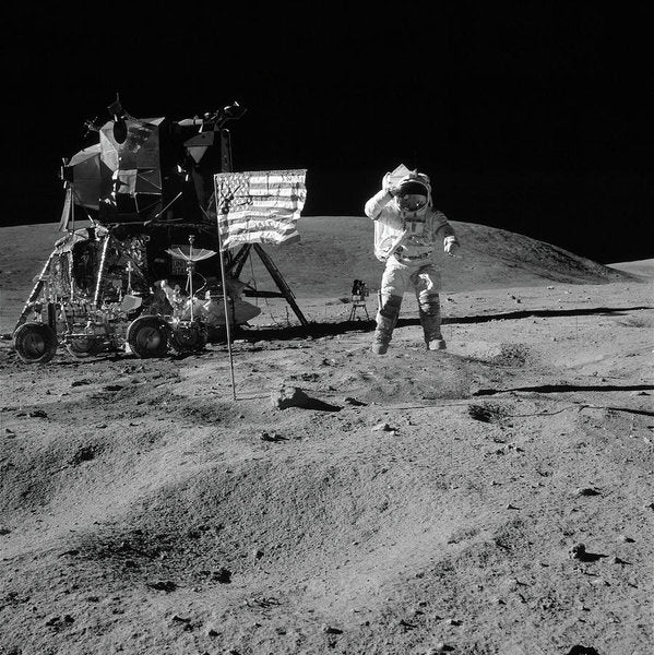 Moon Landing Astronaut With American Flag and Module, Black and White - Art Print from Wallasso - The Wall Art Superstore