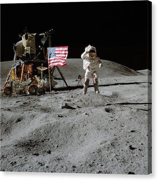 Moon Landing Astronaut With American Flag and Module - Canvas Print from Wallasso - The Wall Art Superstore