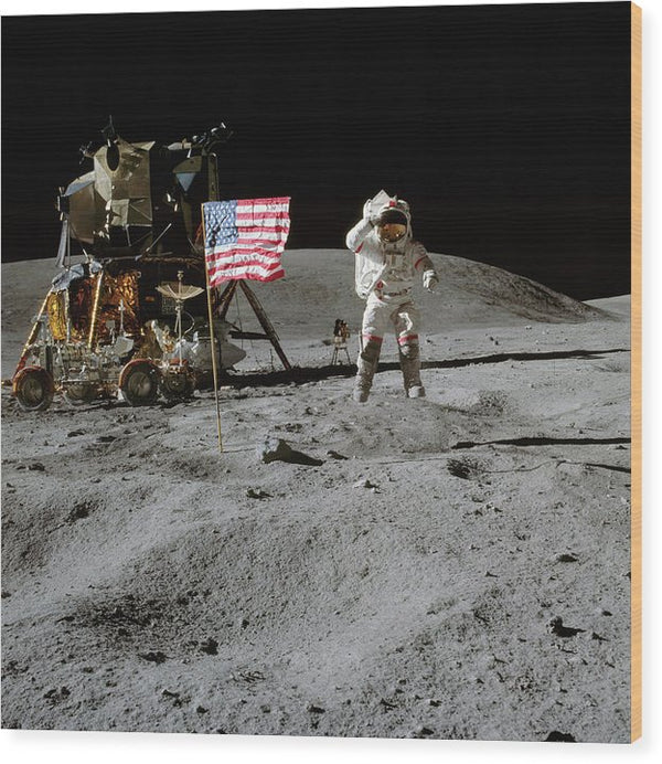 Moon Landing Astronaut With American Flag and Module - Wood Print from Wallasso - The Wall Art Superstore
