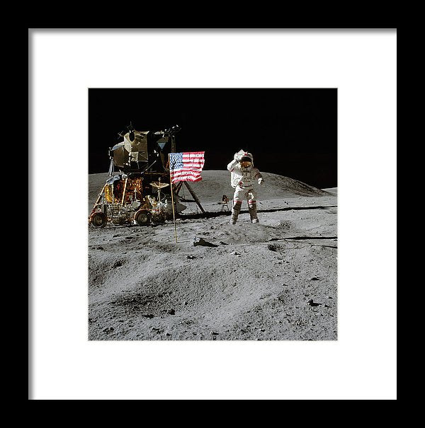 Moon Landing Astronaut With American Flag and Module - Framed Print from Wallasso - The Wall Art Superstore