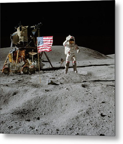 Moon Landing Astronaut With American Flag and Module - Metal Print from Wallasso - The Wall Art Superstore