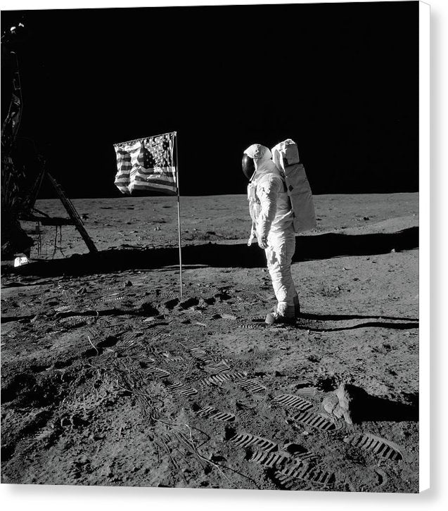 Moon Landing Astronaut With American Flag, Black and White - Canvas Print from Wallasso - The Wall Art Superstore