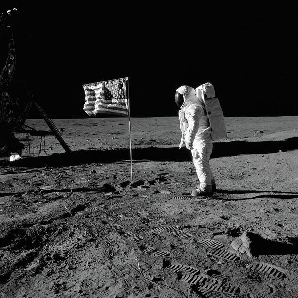 Moon Landing Astronaut With American Flag, Black and White - Art Print from Wallasso - The Wall Art Superstore