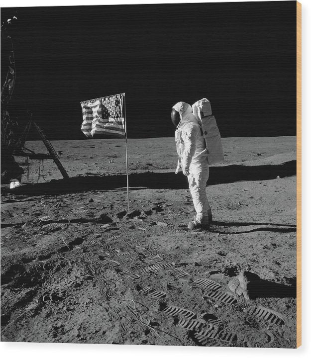 Moon Landing Astronaut With American Flag, Black and White - Wood Print from Wallasso - The Wall Art Superstore