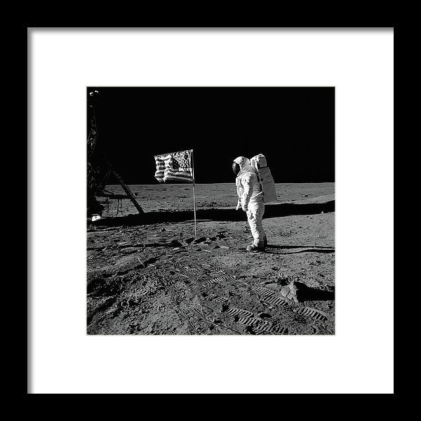 Moon Landing Astronaut With American Flag, Black and White - Framed Print from Wallasso - The Wall Art Superstore
