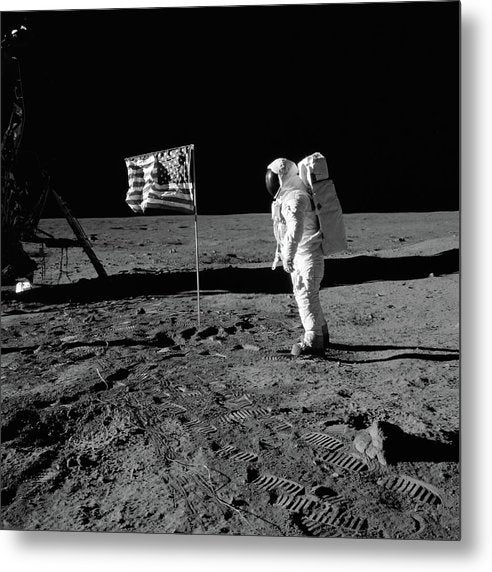 Moon Landing Astronaut With American Flag, Black and White - Metal Print from Wallasso - The Wall Art Superstore
