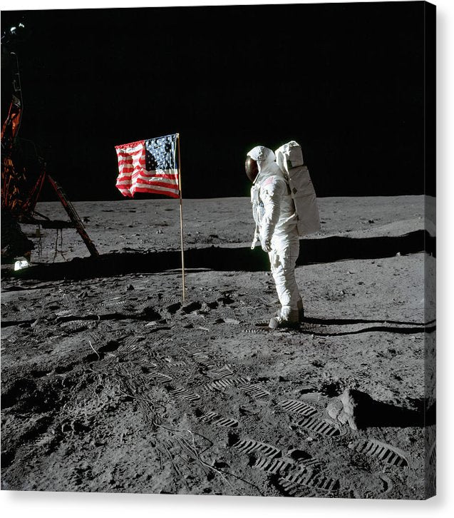 Moon Landing Astronaut With American Flag - Canvas Print from Wallasso - The Wall Art Superstore