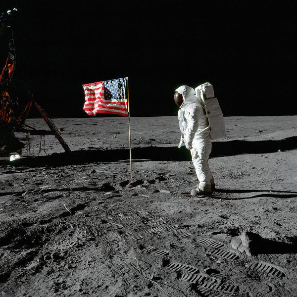 Moon Landing Astronaut With American Flag - Art Print from Wallasso - The Wall Art Superstore
