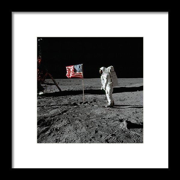 Moon Landing Astronaut With American Flag - Framed Print from Wallasso - The Wall Art Superstore