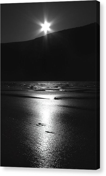 Moonlight Reflecting On Sandy Beach - Canvas Print from Wallasso - The Wall Art Superstore