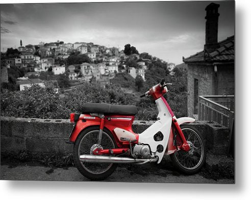 Motor Scooter In Countryside - Metal Print from Wallasso - The Wall Art Superstore
