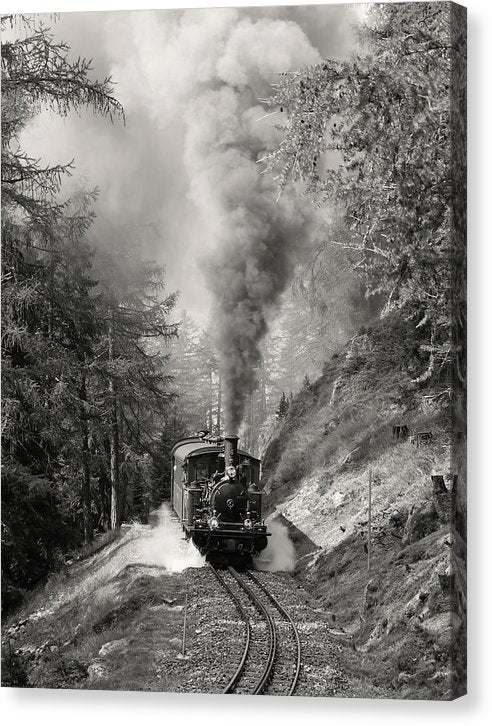 Mountain Locomotive Billowing Smoke - Canvas Print from Wallasso - The Wall Art Superstore