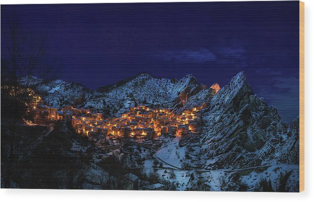 Mountain Town Lights Glowing At Night - Wood Print from Wallasso - The Wall Art Superstore