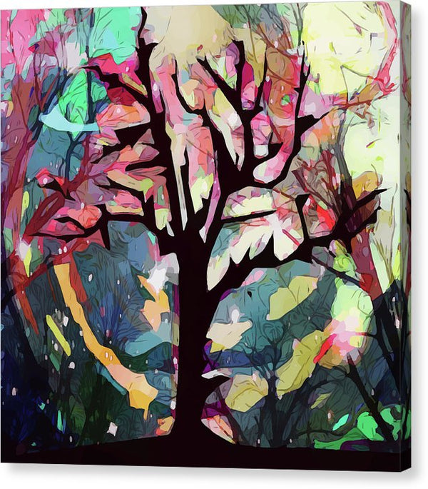 Multicolored Abstract Painting Of Dead Tree - Canvas Print from Wallasso - The Wall Art Superstore