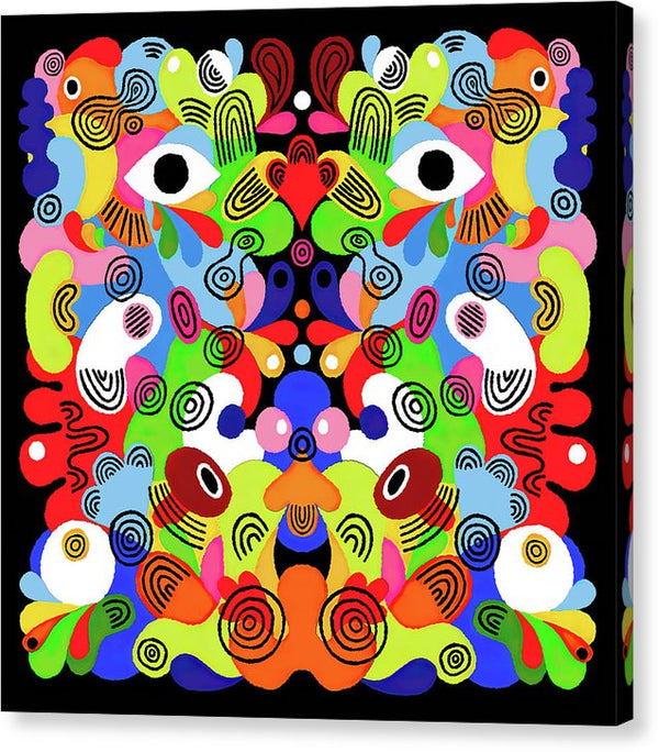 Multicolored Abstract Psychedelic Faces - Canvas Print from Wallasso - The Wall Art Superstore