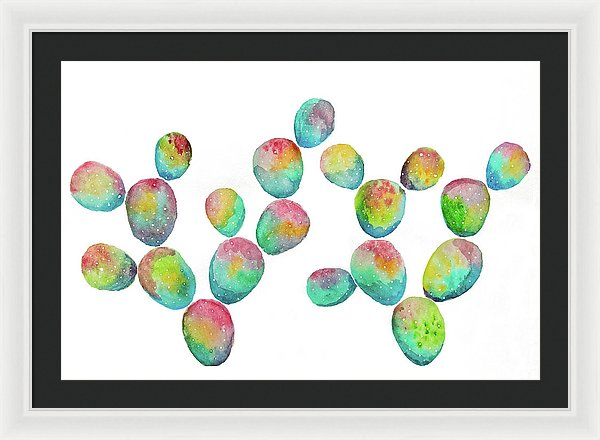 Multicolored Paddle Cactus by Jessica Contreras - Framed Print from Wallasso - The Wall Art Superstore