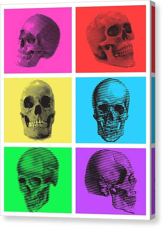 Multicolored Pop Art Skull Collage - Canvas Print from Wallasso - The Wall Art Superstore