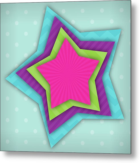 Multicolored Star Pattern For Kids - Metal Print from Wallasso - The Wall Art Superstore
