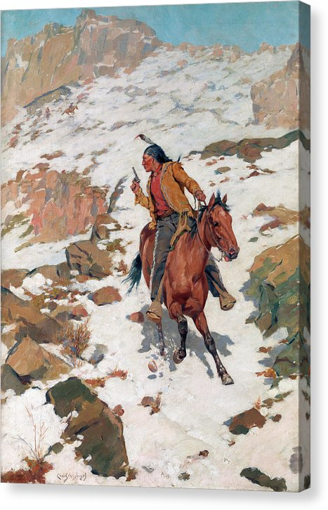 Native American Indian Being Pursued On Horseback Painting - Canvas Print from Wallasso - The Wall Art Superstore