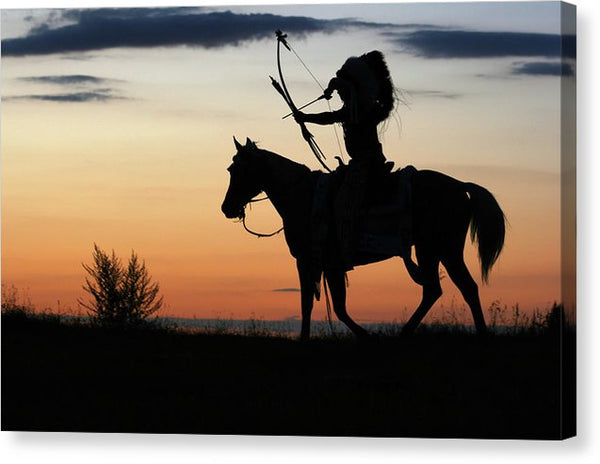 Native American Indian Chief On Horseback At Sunset - Canvas Print from Wallasso - The Wall Art Superstore