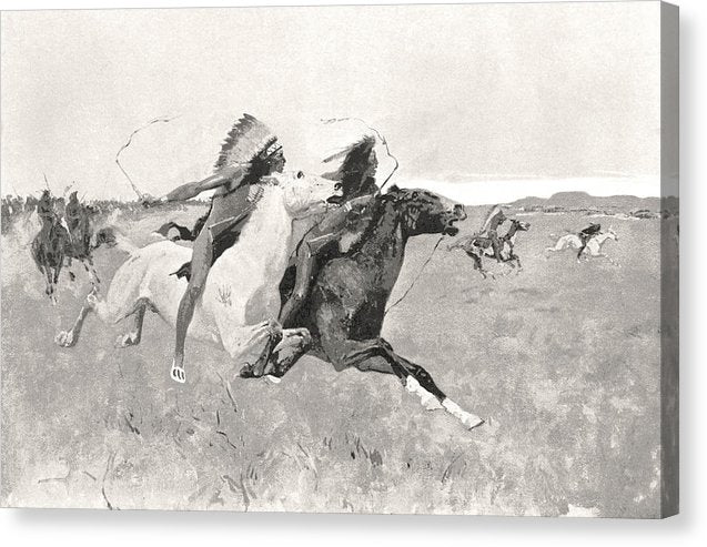 Native American Indians On Horseback Illustration - Canvas Print from Wallasso - The Wall Art Superstore